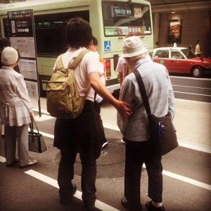 Here, two Japanese teens helped this elderly man through a crowd of people and took the time to ensure he boarded the correct bus. Something we've never experienced in the United States.